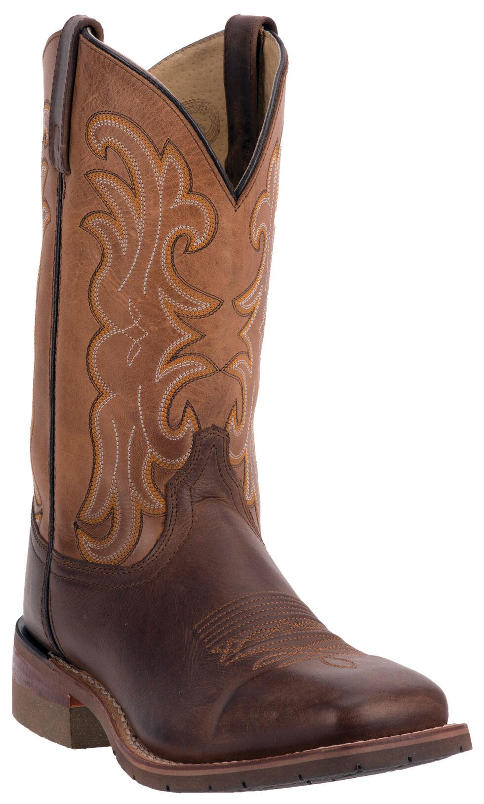 Dan Post Lingbergh Cowboy Boots - Wide Square Toe, Dark Brown, hi-res