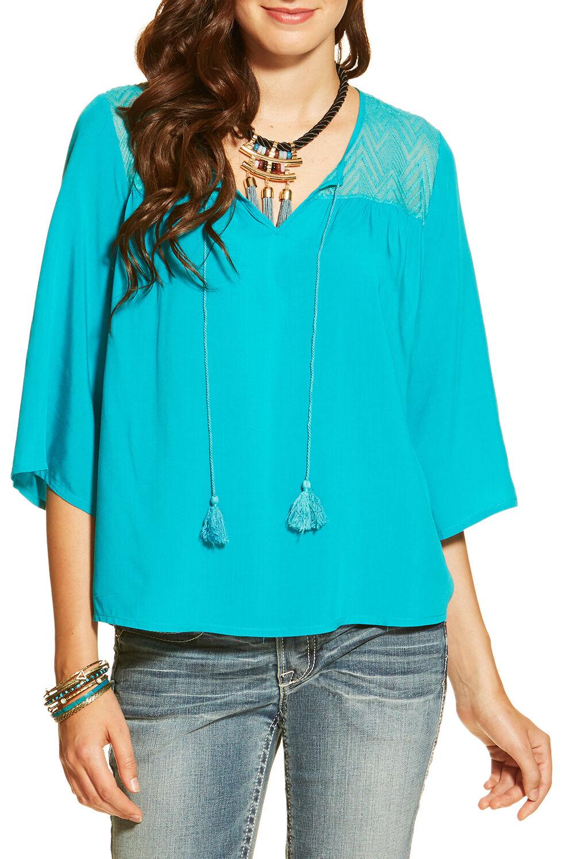 Ariat Women's Garland Tunic, Turquoise, hi-res