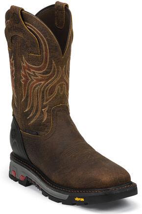 Justin Men's Driscoll Mahogany EH Waterproof MetGuard Work Boots - Steel Toe, Mahogany, hi-res