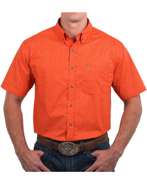 Nobel Outfitters Men's Geo Patterned Short Sleeve Button Down Shirt, Orange, hi-res