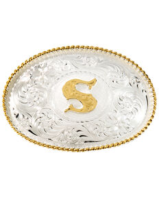 """Montana Silversmiths Initial """"S"""" Buckle, Silver, hi-res"""