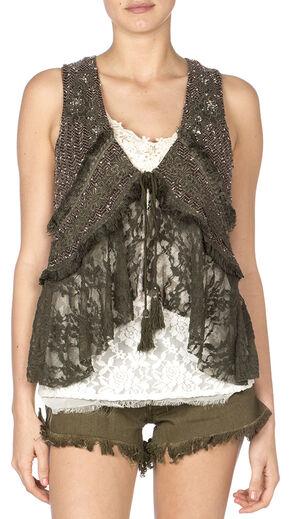 Miss Me Women's Mix Match Lace Vest, Olive, hi-res