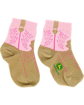 John Deere Infant Girls' Western Boot Print Socks, Pink, hi-res