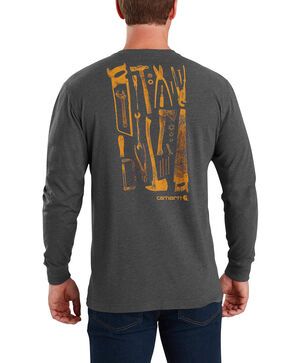 Carhartt Men's Maddock Tool Graphic Long-Sleeve T-Shirt - Big, Charcoal, hi-res