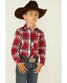 Roper Boys' Red Plaid Embroidered Bull Yoke Long Sleeve Snap Western Shirt , Red, hi-res
