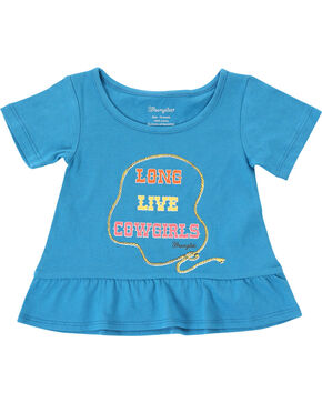 Wrangler Toddler Girls' Cowgirl Short Sleeve Tee, Blue, hi-res