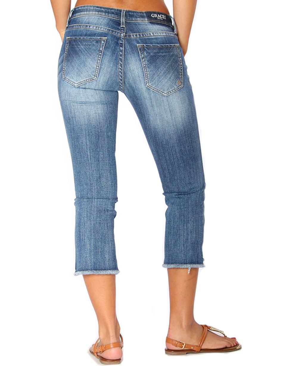 Grace in LA Women's Indigo Flare Jeans Capri Jeans, Indigo, hi-res