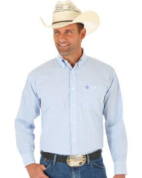 Wrangler George Strait Blue Dobby Stripe Western Shirt , Blue, hi-res