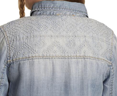 Miss Me Girls' Indigo Embroidered Denim Top , Indigo, hi-res