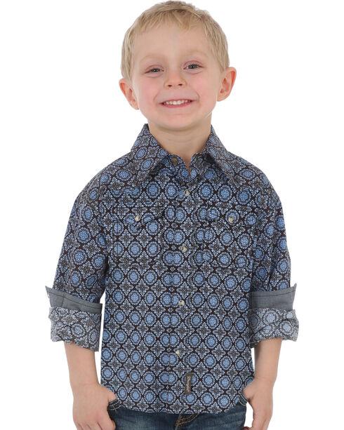 Wrangler Boys' Blue Retro Print Button Down Shirt , Blue, hi-res