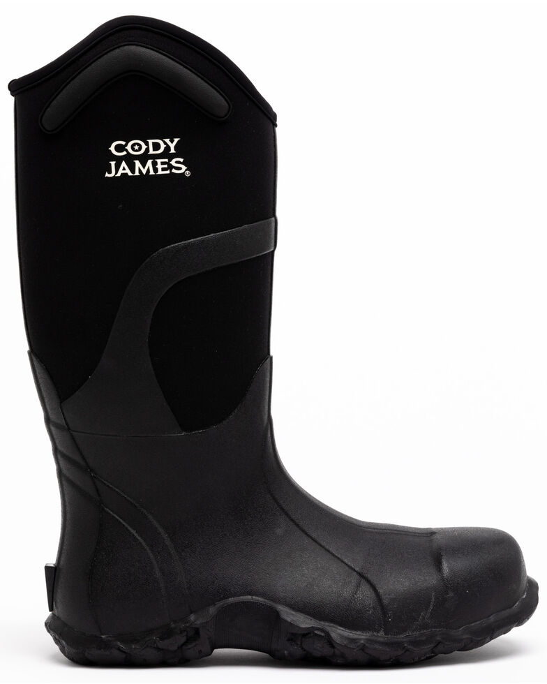 Cody James Men's Rubber Waterproof Western Work Boots - Composite Toe, Black, hi-res