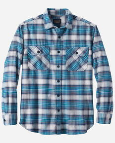 Pendleton Men's Turquoise Burnside Plaid Long Sleeve Western Flannel Shirt , Turquoise, hi-res
