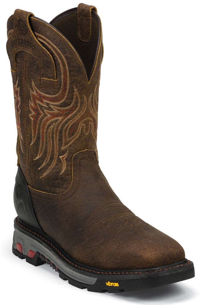 Justin Men's Driscoll Mahogany EH Waterproof Work Boots - Steel Toe, Mahogany, hi-res
