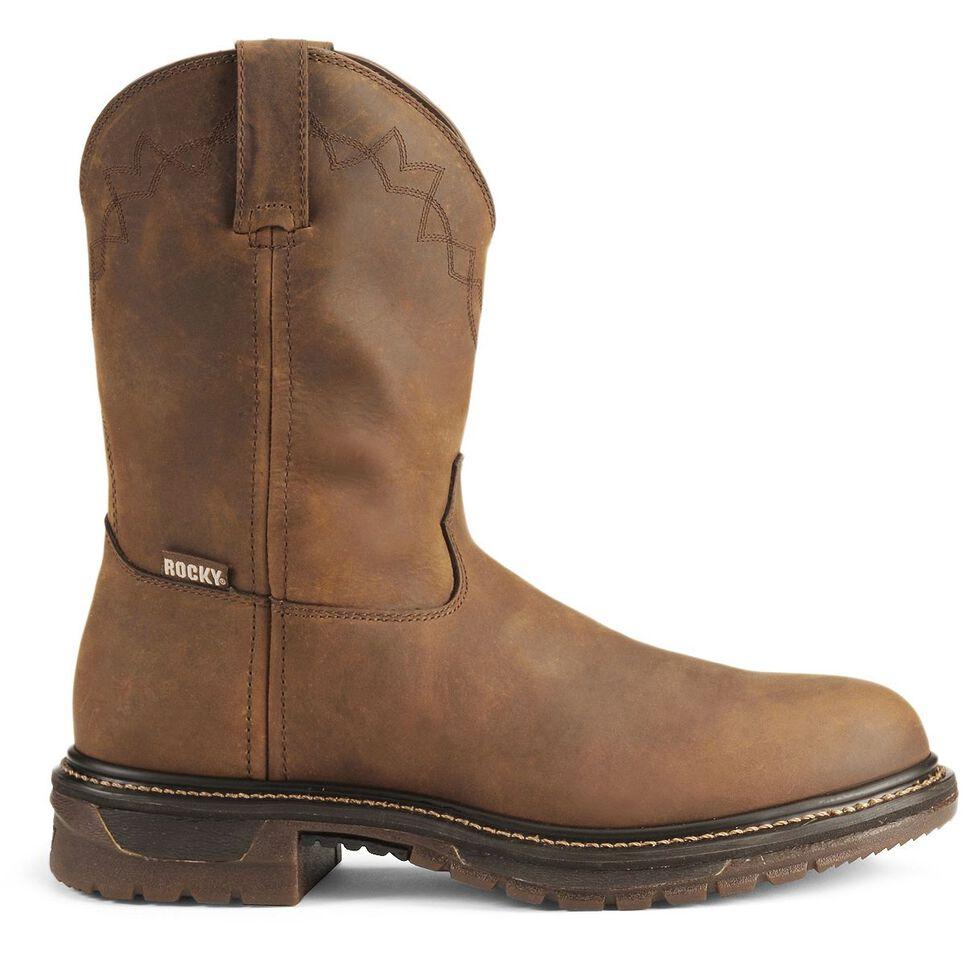 "Rocky 10"" Original Ride Roper Western Work Boots, Tan, hi-res"