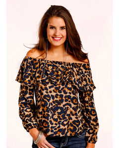 Panhandle Women's Leopard Print Off The Shoulder Top , Leopard, hi-res
