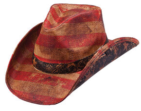 Peter Grimm Patriot Straw Cowboy Hat, Tea, hi-res