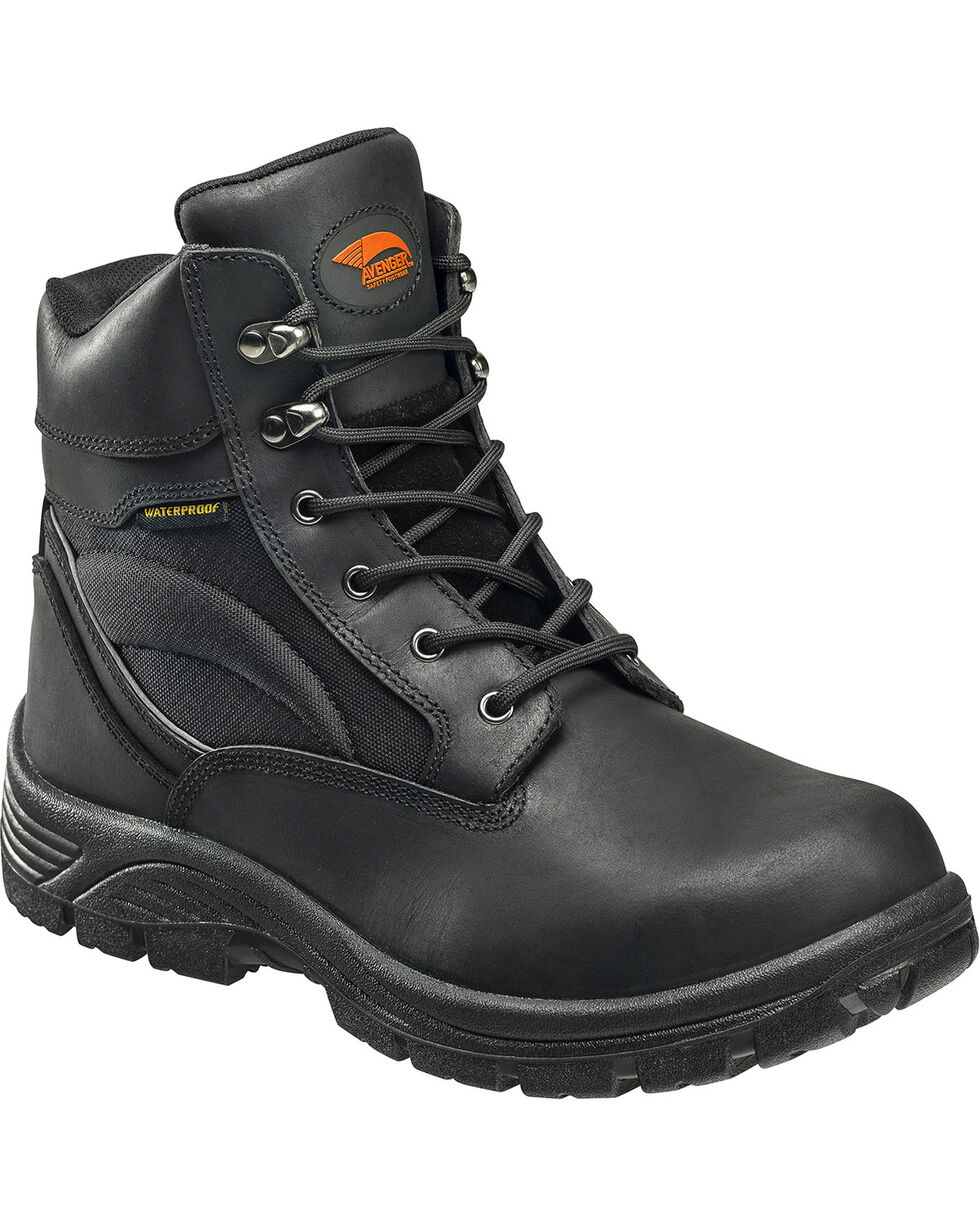 "Avenger Men's Black Waterproof 6"" Lace-Up Work Boots - Steel Toe, Black, hi-res"