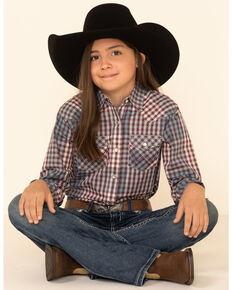 Wrangler Girls' Purple Plaid Snap Long Sleeve Western Shirt, Purple, hi-res