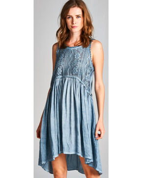 Hyku Women's Blue Hi Lo Sleeveless Lace Dress, Blue, hi-res