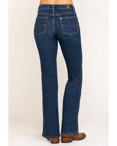 Aura Wrangler Women's Dark Mid Rise Bootcut Jeans, Blue, hi-res