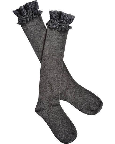 Blazin Roxx Grey Lace Top Knee-High Socks, Grey, hi-res