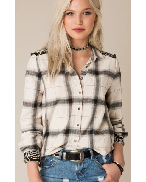 White Crow Women's Take Heart Embroidered Long Sleeve Flannel, Ivory, hi-res