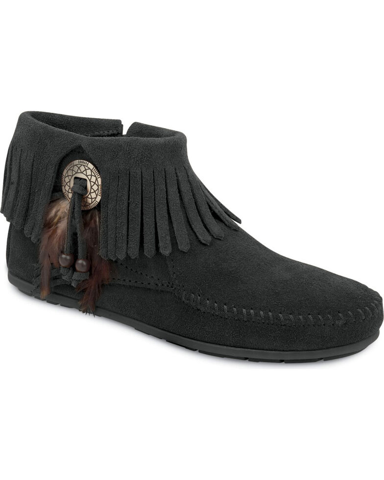 Minnetonka Feather & Concho Fringe Bootie Moccasins, Black, hi-res