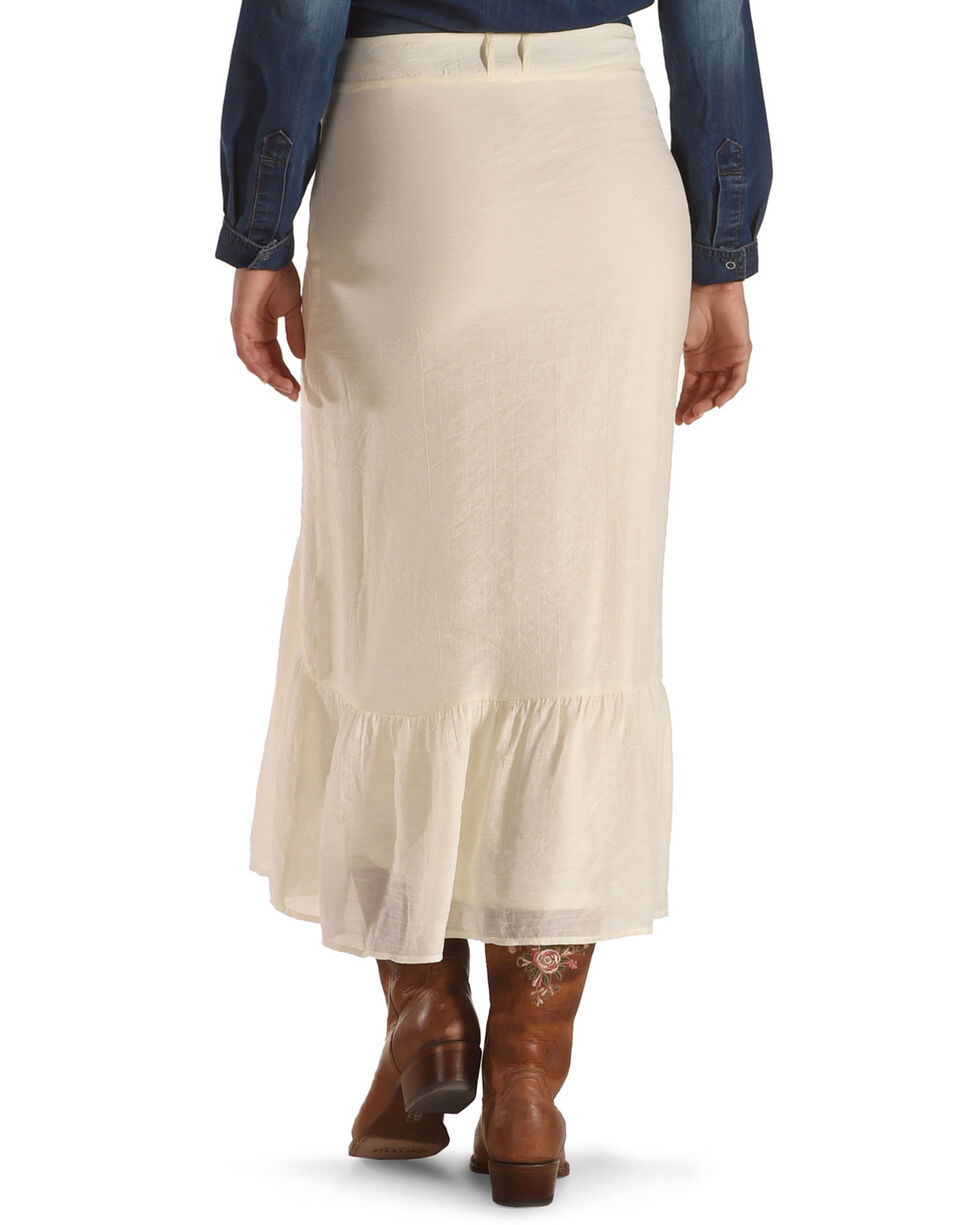 Wrangler Women's Button-Up Skirt with Flounce Hem, Ivory, hi-res