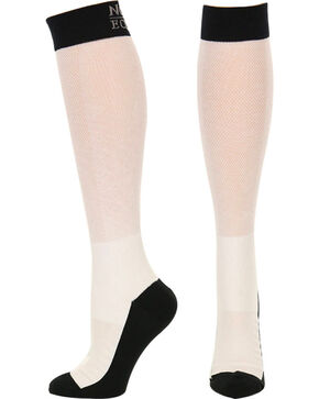 Noble Outfitters Equine Men's Over the Calf XtremeSoft Boot Socks, White, hi-res