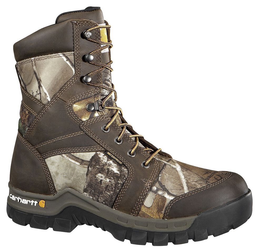 """Carhartt Waterproof Camo 8"""" Lace-Up Work Boots - Composite Toe, Camouflage, hi-res"""