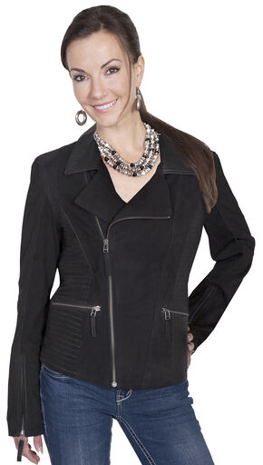 Scully Leatherwear Suede Cross Motorcycle Jacket, Black, hi-res