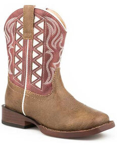 Roper Toddler Boys' Askook Western Boots - Square Toe, Red, hi-res