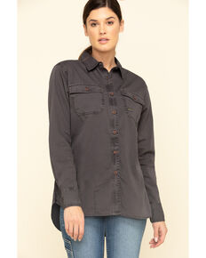Ariat Women's Grey Rebar Washed Twill Long Sleeve Work Shirt, Grey, hi-res