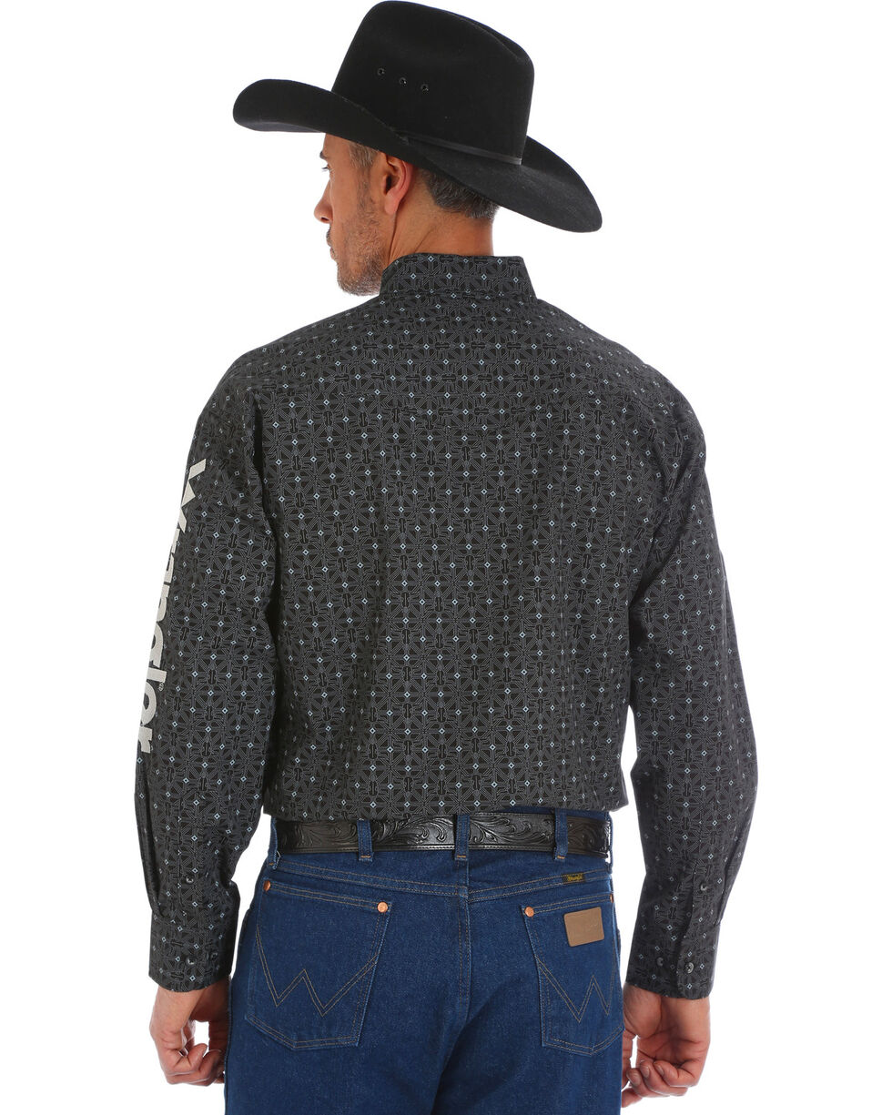 Wrangler Men's Black Printed Western Logo Shirt , Black, hi-res