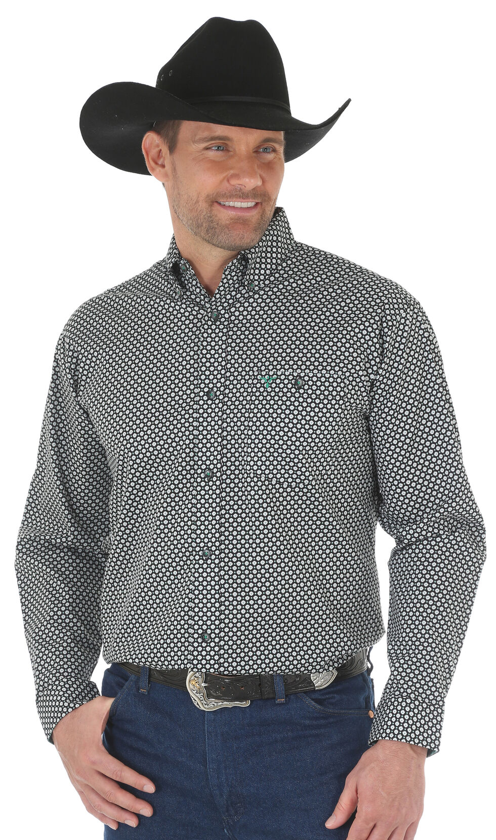 Wrangler 20X Men's Green/Black Advanced Comfort Competition Shirt - Big & Tall, Green, hi-res
