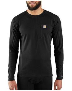 Carhartt Men's Solid Black Force Midweight Tech Crew Long Sleeve Thermal Work Shirt - Tall , Black, hi-res