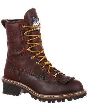 Georgia Boot Men's Insulated Waterproof Logger Boots - Round Toe, Mahogany, hi-res