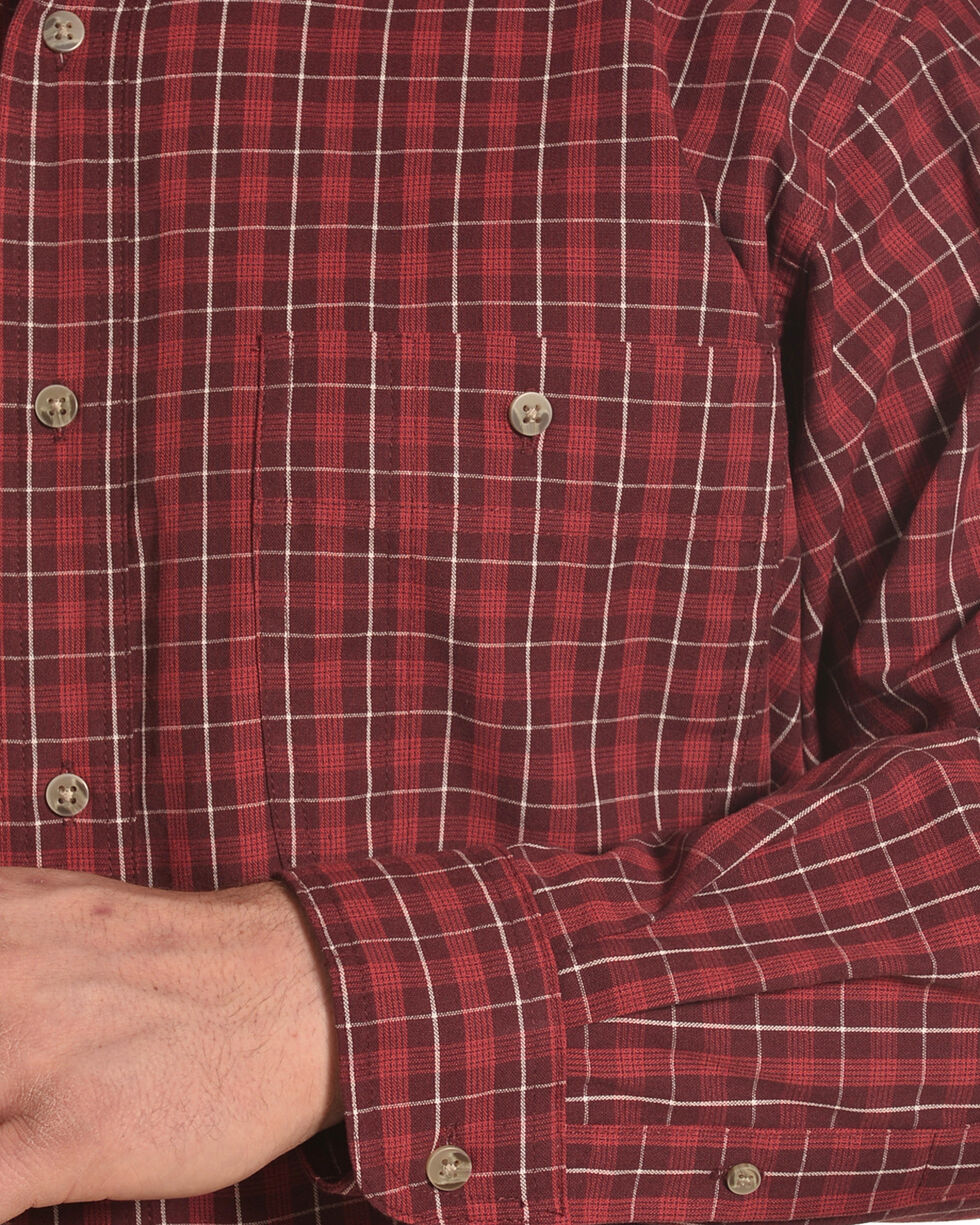 Wrangler Men's Red Rugged Wear Blue Ridge Western Shirt , Red, hi-res