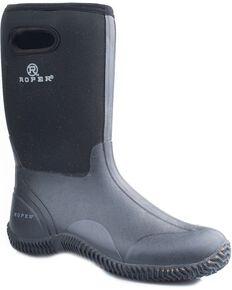Roper Waterproof Rugged Neoprene Barnyard Boots, Black, hi-res