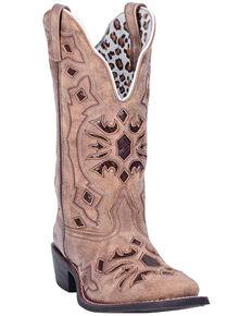 Laredo Women's Queen Of Diamonds Western Boots - Square Toe, Tan, hi-res
