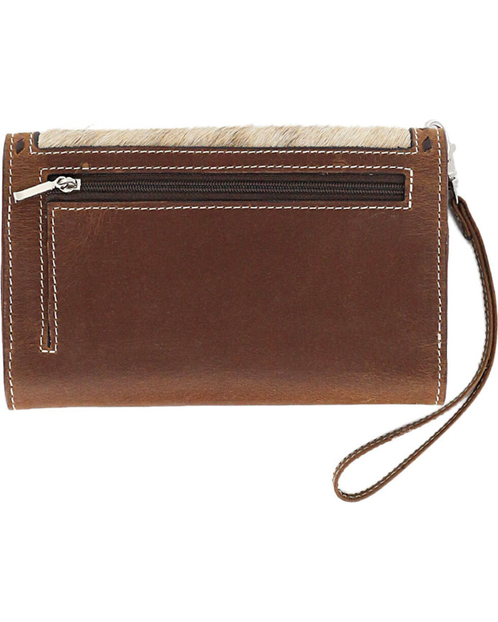 Angle Ranch Women's Hair-On Large Smartphone Holder Wristlet, Brown, hi-res