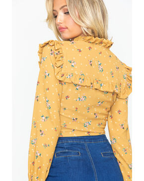 Tempted Women's Ditsy Print Button Shirt, Dark Yellow, hi-res