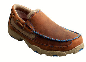 Twisted X Boys' Brown and Blue Leather Driving Mocs, Saddle Brown, hi-res