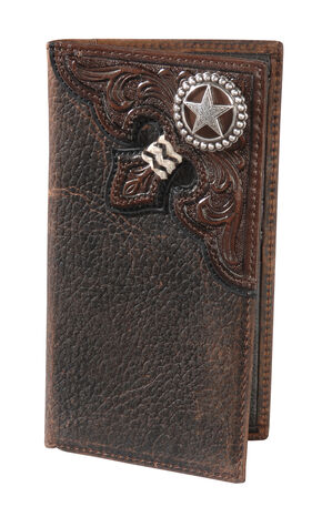 Nocona Embossed Rodeo Lonestar Concho Wallet, Brown, hi-res