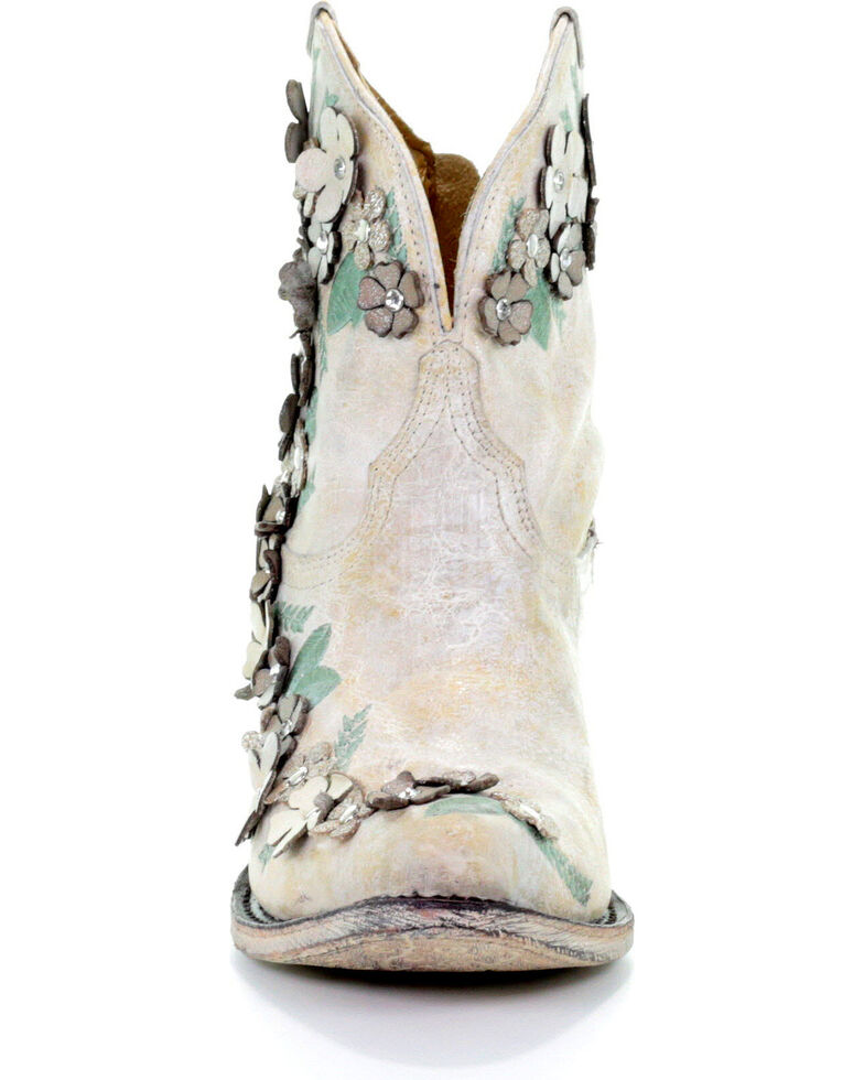 Corral Women's White Floral Overlay Booties - Round Toe , White, hi-res