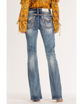 Miss Me Women's Embroidered Pocket Boot Cut Jeans, Blue, hi-res