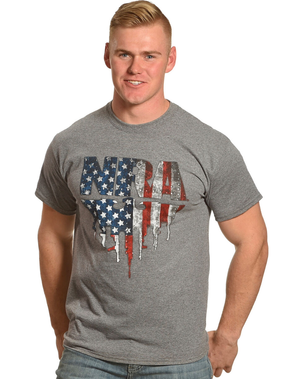 NRA Men's Grey Flag Eagle with Gun-Tipped Wings Tee , Grey, hi-res