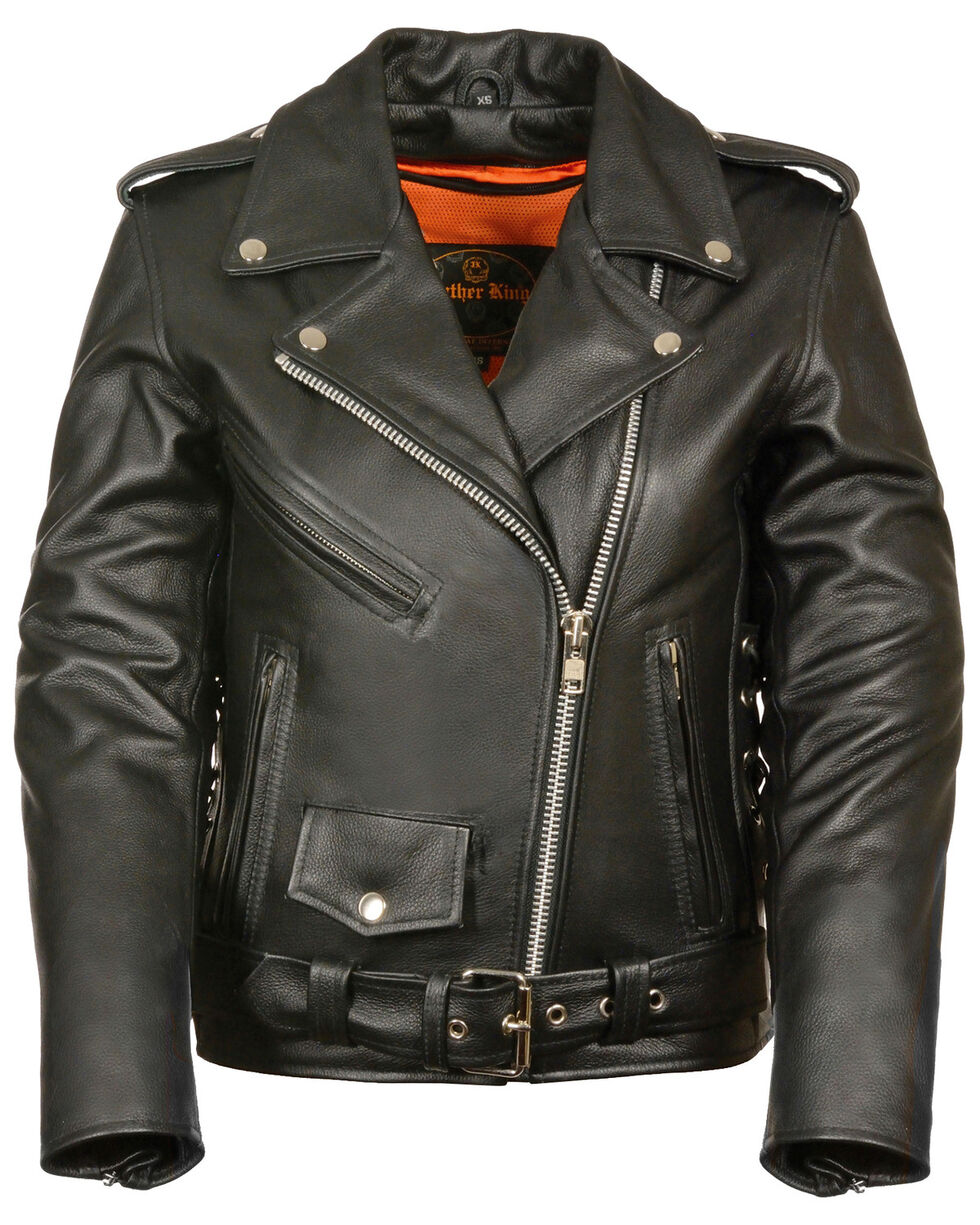 Milwaukee Leather Women's Full Length Side Lace Leather Motorcycle Jacket - 5X, Black, hi-res