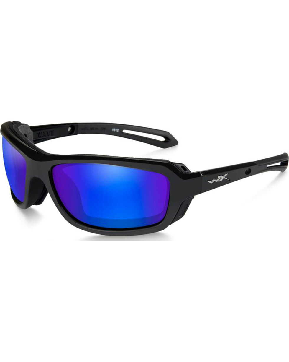 Wiley X Wave Polarized Blue Mirror Gloss Black Sunglasses, Black, hi-res