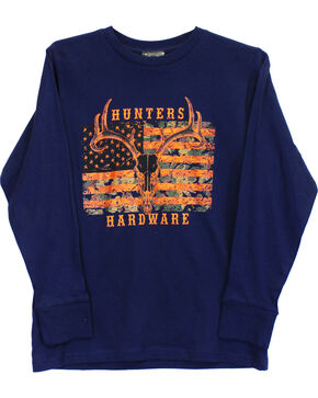 Cowboy Hardware Boys' Navy HUNTERS Camo Skull Flag Tee , Navy, hi-res